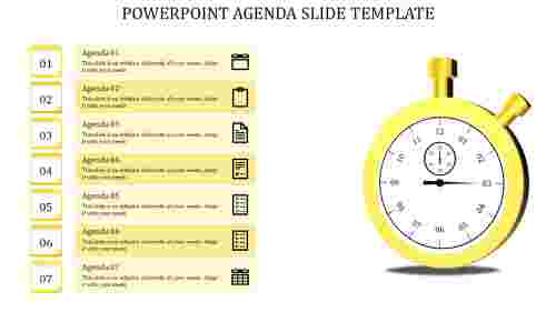 Seven Stage Powerpoint Agenda slide Template-Yellow circle