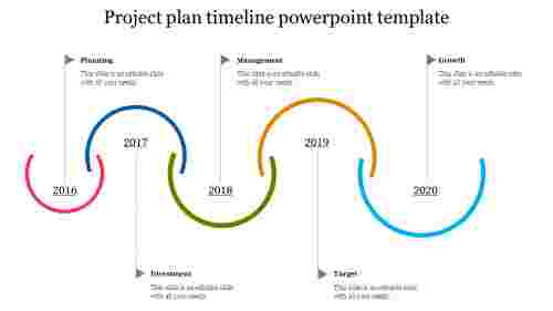 A six noded project plan timeline powerpoint template