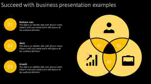 Business presentation example with black ground