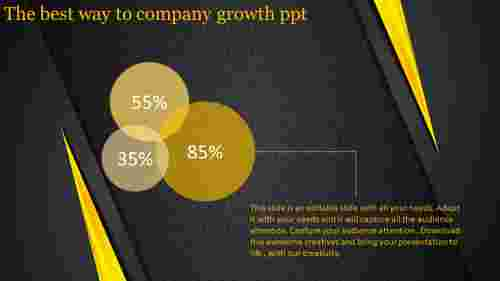 Company growth PPT with dark background