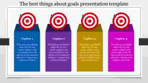 Horizontal Goals Presentation Template With Bullseye
