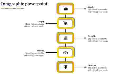 Five level Stacking Model  Infographic PPT-Yellow