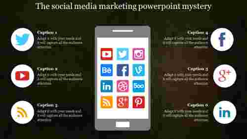 Social media marketing powerpoint with phone designs