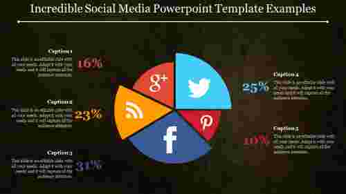 Social media powerpoint template - Flat Pie Chart Template
