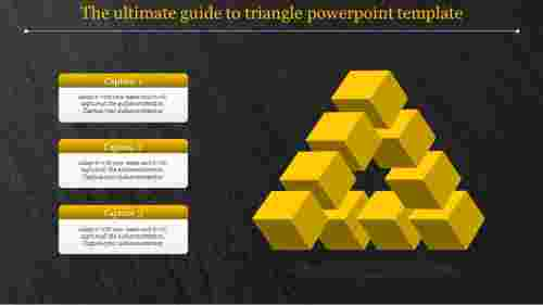 Three levels triangle powerpoint template with dark background