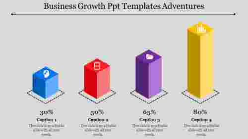 Cubes shaped business growth PPT templates