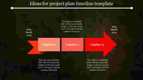 project plan timeline template with dark background