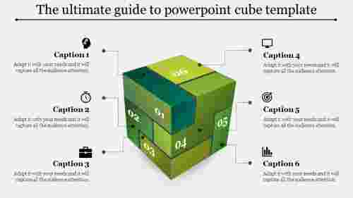 Six segments powerpoint cube template