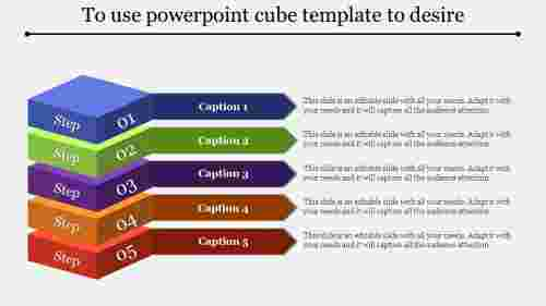 Powerpoint cube template-Layered Horizondal