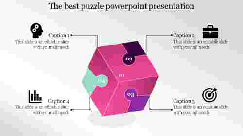 Cube design puzzle powerpoint template