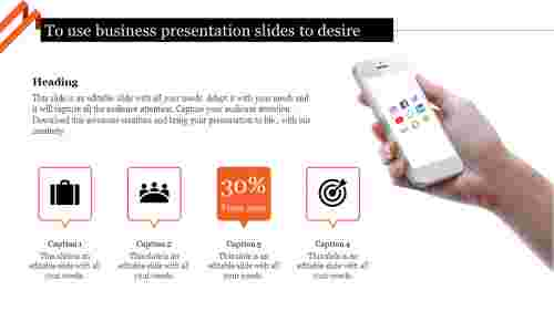 business presentation slides with business icons