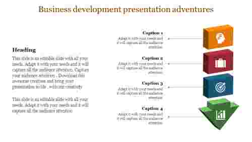 business development presentation with downward arrow