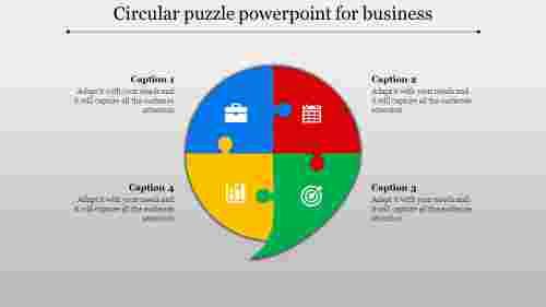 Multi color circular puzzle powerpoint