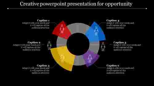 dark background segmented circle creative powerpoint presentation