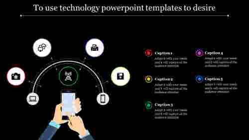 technology powerpoint templates with electronics items