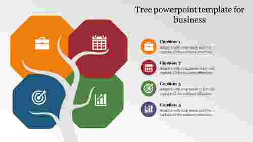 tree powerpoint template with hexagon shapes
