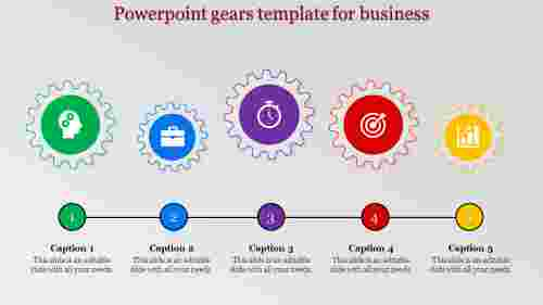 Horizontal powerpoint gears template