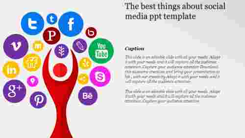 social media powerpoint template - Tree designed