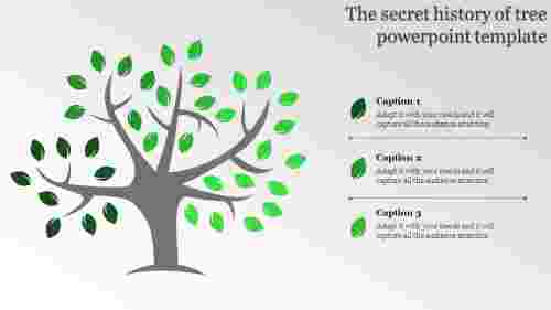 tree powerpoint template with three stages