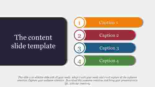 content slide template with four rounded rectangle