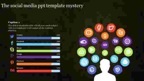 dark background social media powerpoint template with icons