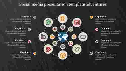 social media presentation template with dark back ground
