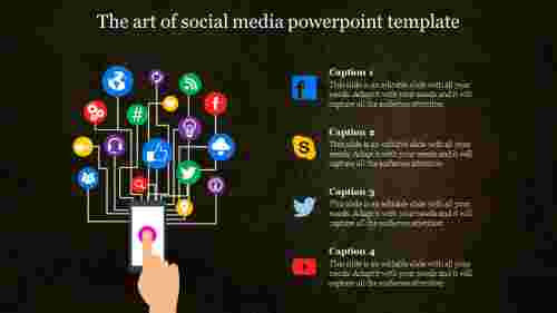 social media powerpoint template with connected icons
