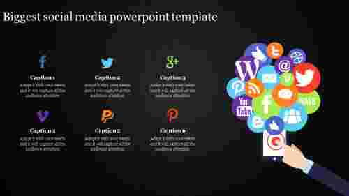 social media powerpoint template with phone
