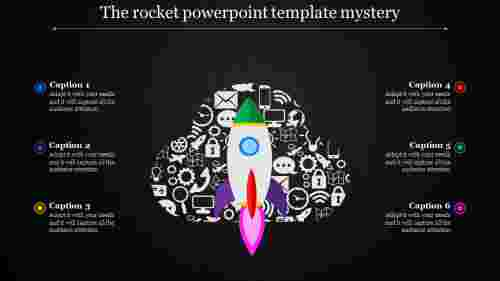 dark  rocket powerpoint template  with icons