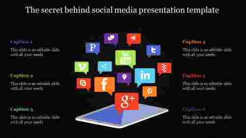 social media presentation template - highlighted icons