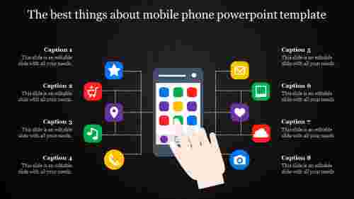 mobile phone powerpoint template - dark back ground