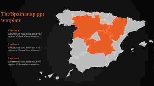 map ppt template-The Spain map ppt template