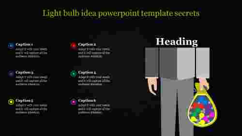 light bulb idea powerpoint template -  human model