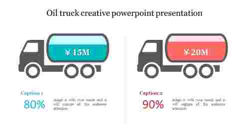 Oil truck creative powerpoint presentation - two trucks