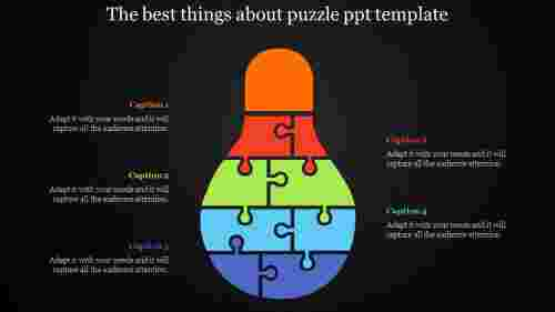 puzzle powerpoint template - inverted bulb