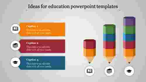 education powerpoint templates - three inverted pencil