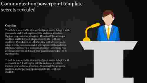 Silhoutte communication powerpoint template with dark background