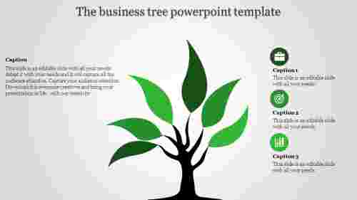 tree powerpoint template - single green tree
