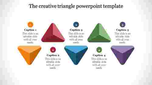 triangle powerpoint template with multi-colors
