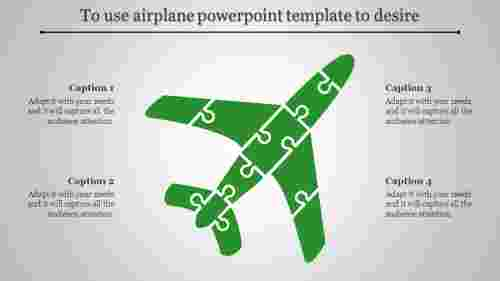 airplane powerpoint template - Puzzle shaped