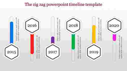 Hexagon shaped powerpoint timeline template