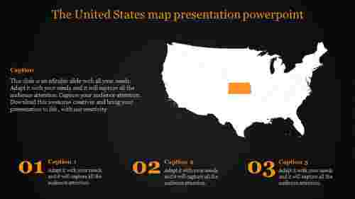 unites states  map presentation powerpoint - dark background