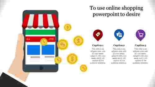 online shopping powerpoint - hand holding  mobile