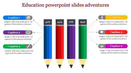 education powerpoint slides - four down facing pencils