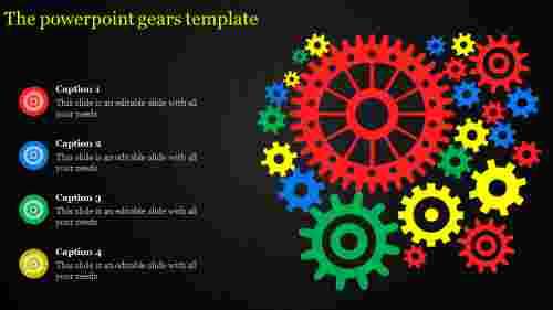 powerpoint gears template - four stages