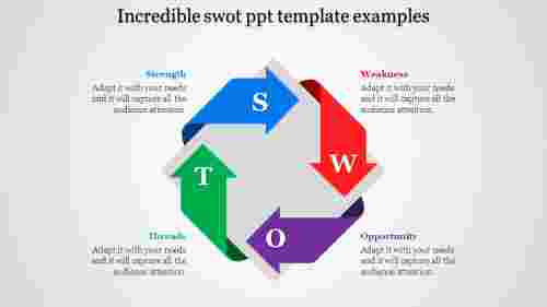 Bended arrows SWOT PPT template