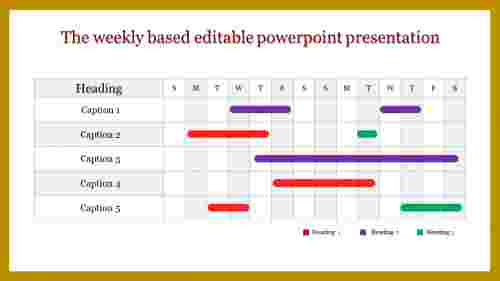 Weekly Base editable powerpoint presentation