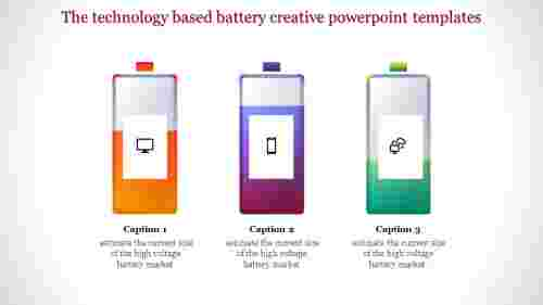 creative powerpoint templates-The technology based battery creative powerpoint templates