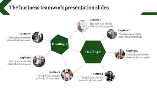 teamwork presentation slides - connected hexagonal