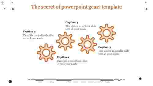 powerpoint gears template - four gear wheels